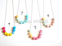 Hot sale 5pcs/lot  Pastel Faceted Wood Geometric Necklace  WNKL-008