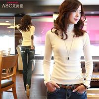 2013 autumn medium-long pullover turtleneck women's tight basic shirt slim women's long-sleeve T-shirt