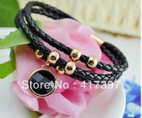 High quality leather knitted Circular small and black titanium black precious stone magnet card female bracelet