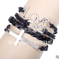 Free Shipping New Year Christmas Gifts Fashion,love,Cross,infinite 8words,handwoven Personalized Woven Leather Bangles Bracelets