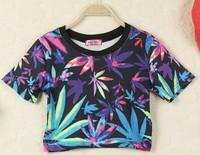 LZ summer stree Fashion youth clothing harajuku hemp fimble leaves print cross short design Tee shirt cheap crop tops t shirt