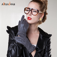 Vivendi fabric casual gloves female bicycle gloves super soft classic blended-color laciness gloves