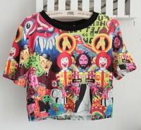 2013 summer stree Fashion youth clothing harajuku Ronald McDonald print cross short design Tee shirt cheap crop tops t shirt
