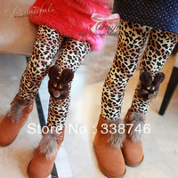 5pcs/lot Winter All-matched Fashion Leopard Print Mouse Thicken Velvet Leggings Pants Trousers for Baby Girls Kids Children