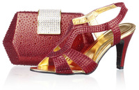 FREE SHIPPING!New arrival wine red italian shoes and matching bags,PU material,high heel shoes for women,SB8792