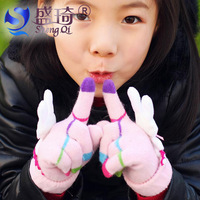 2013 winter cartoon child gloves thickening baby rabbit laciness five fingers gloves