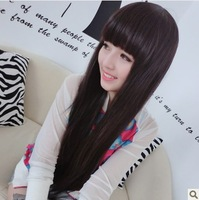 Women wifing qi bangs hair long straight hair of non-mainstream fashion wig fluffy cute wig long straight wig