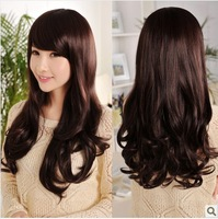 Bangs oblique fluffy long curly hair repair elegant roll curly hair wig female fashion sweet