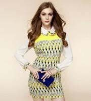 2013 new Geometric mosaic Slim lapel long sleeve autumn and winter dress princess dress