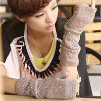 Women's thickening semi-finger thermal arm sleeve yarn oversleeps sleeves gloves D2454