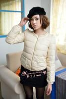 2013 autumn and winter pearl pocket zipper puff sleeve short design slim down coat female