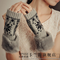 Women's autumn and winter thickening semi-finger thermal arm sleeve faux line oversleeps sleeves gloves