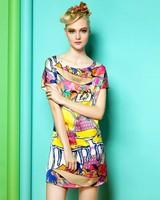 Colorful fashion handbags printing dress large size loose bat sleeve dress