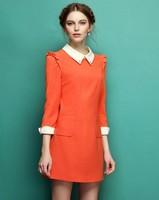 High Quality Fashion peter pan collar orange dress temperament party dress european style for woman