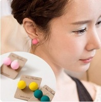 E399   Free Shipping Wholesales New Fashion Fluorescent Candy Colored Frosted Ball Earrings Jewelry