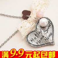 E4165 queer accessories vintage lace bow pearl necklace love necklace