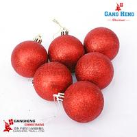 Christmas tree decoration rattan stick pendant 6-8cm red light pink Christmas ball Christmas ball 100g 6pcs/lot