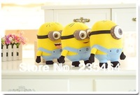 Free shipping 3pcs/lot Despicable ME Minions Toy 3D eye Jorge Stewart Dave with tags baby soft toys,18cm