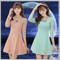 2013 autumn and winter women knit long-sleeve dress slim elegant one-piece dress a