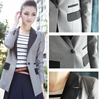 2014 New Elegant Fashionable Comfortable gray/Black Women Coat Jacket Wholesale Retailer One Button Suit Blazers  S-XL