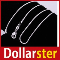 [Dollar Ster] New Fashion Ladies Girls 18 Inch 1MM Silver Pole-Chain Pattern Chain Necklace 24 hours dispatch