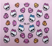 20pcs/lot Hot-selling 3d finger applique nail art patch skull