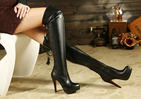 Over-the-knee high-heeled boots female thin heels platform sexy all-match high-leg martin boots tall boots