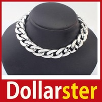 [Dollar Ster] Gothic Punk Style Link Chain Choker Chunky Curb Chain Bib Necklace 24 hours dispatch