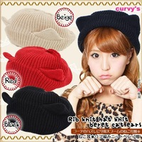 The cat ears wool knitted cap Angle of devil horns knitting wool hat Cute Women cap Free Shipping
