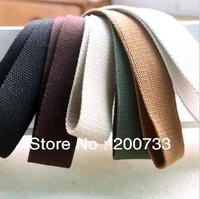 Free shipping 2.5cm cotton canvas webbing  15 colors DIY bag straps  length=100cm,5pcs/lot