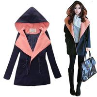 Free shipping 2013 autumn women's woolen overcoat female with a hood women's woolen outerwear autumn and winter