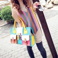 HOTSALE!Free Shipping ! 2013 Restore ancient ways handbag bump color handbag spell color fashion woman leather bag 2112