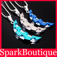 Min Order $10 (Mix Order) 3 Colors Stainless Steel Necklace With Rhinestone Crescent Moon Necklace With Chain Creative Necklace