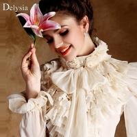Dream sexy  three-dimensional rose royal wind lantern sleeve women's shirt