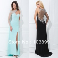 Fabulous A-line See Through Back Beadings High Slit Chiffon Long Sleeve Prom Dress 2014 Summer