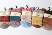 Thickening women's wool socks spell colour all cotton long socks (1 lot = 5 pairs = 10pcs)