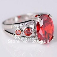 R118  Wholesale Promotion Latest designed jewelry red garnet topaz silver ring women wedding Christmas, gift jewelry size8