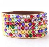 200pcs/lot  full colorful rhinestone fashion leather bracelet,luminous fashion new style lady bracelet,latest popular bracelet.