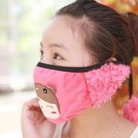Little girl angela cartoon winter thermal dust masks/ earmuffs two-in-one steps strap type