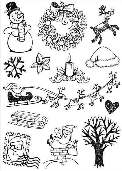 DIY 3D Black Christmas Flocking Print Heat Transfer Film Sticker, Iron-on Film Sticker Fabric Decoration,10 Pcs/lot >ZR1327(China (Mainland))