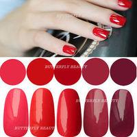 2014 hot Red Collection 5pcs 15ml Gel Nail Polish Soak Off UV Manicure Color UV LED Lamp
