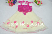 Girls' fashion sleeveless lace base group of roses bow tutu princess dress Evening group CHF-1219