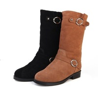 Free Shipping 2013 Winter Fashion Black Cow Leather Mid-calf Boots,Brand Women's Flat Heel Boots Plaid Riding shoes US size 4-9