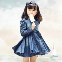 Free shipping 2013 hot selling spring & autumn kids denim coat dress children dress girl jean dress Wholesale and Retail