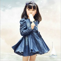 Free shipping 2013 hot selling spring & autumn kids denim coat dress children dress girl jean dress Wholesale and Retail