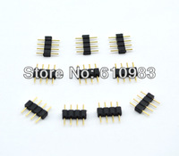 Free shipping 100pcs/lot Straight Black 4 Pins Male DIY Connector For Led Strip Lights RGB 5050 3528