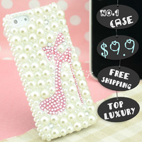 Hot Top Luxury Bling Rhinestone for samsung galaxy s4 i9500 s3 i9300 siii high heels mobile phone leather hard case covers shell