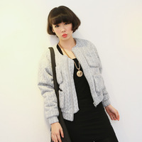 0139 cobbier fashion add velvet short jacket women's wadded jacket autumn and winter cardigan long-sleeve  CN Free Shipping !