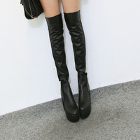6027 - 8 fashion PU patchwork ultra long boots women's shoes over-the-knee high-heeled shoes platform  CN Free Shipping !