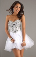 2014 gorgeous sequins crystal white tulle short prom dress damas dress for sweet 16 party free shipping